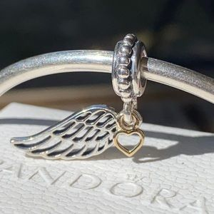 Pandora Angel Wing & 14k Heart Dangle
